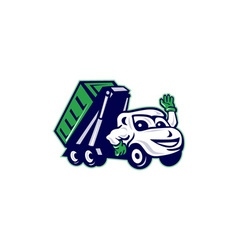 Roll-Off Bin Truck Waving Cartoon vector image vector image