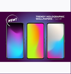 set of holographic gradients modern bright vector image