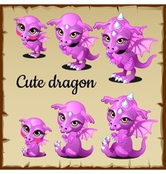 Set of little pink dragon on a parchment vector