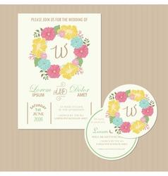 Set of wedding invitation cards vector