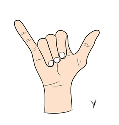 Sign language and the alphabetThe Letter y vector image vector image
