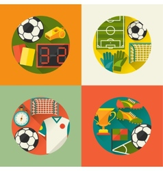 Sports backgrounds with soccer football flat icons vector