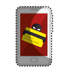 Sticker color silhouette with stealing credit card vector