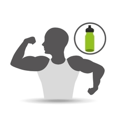 strong man silhouette and bottle water vector image
