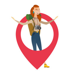 Traveler woman jumping through a big map pointer vector
