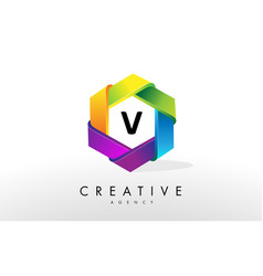 v letter logo corporate hexagon design vector image