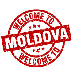 welcome to moldova red stamp vector image vector image
