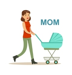 Young Mother Walking With Stroller Happy Family vector image vector image