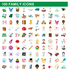 100 family icons set cartoon style vector image vector image