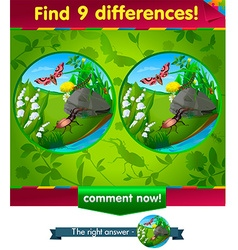 Beetle caterpillar 9 differences vector