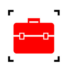 Briefcase sign   red icon vector
