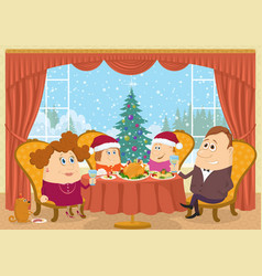 Family at home celebrating christmas vector
