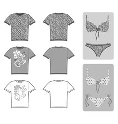 Swimsuits t-shirt flat set vector