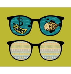 Retro sunglasses with fish reflection in it vector