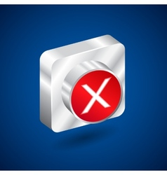 Validation denied metall red button vector