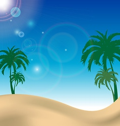Palm beach landscape with blue sky vector