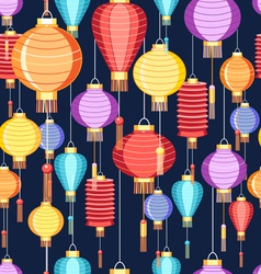 Pattern chinese lanterns vector