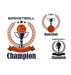 Basketball champion emblems with items vector
