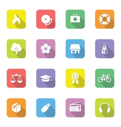 Colorful icon set 6 rounded rectangle long shadow vector