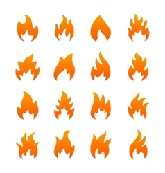 Orange fire icons vector