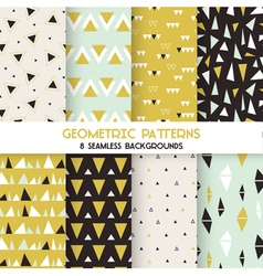 8 seamless geometric triangles patterns vector