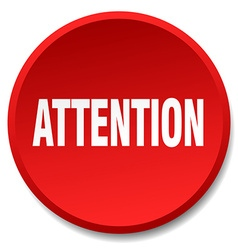 Attention red round flat isolated push button vector