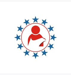 America people circle star usa logo icon vector