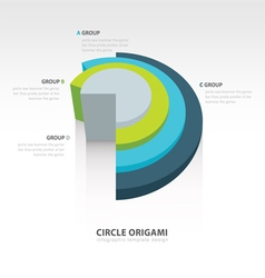 Business infographics circle origami 3d style vector