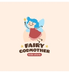 Cartoon fairy godmother logo vector