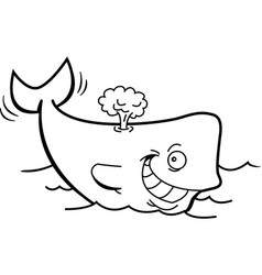 Cartoon smiling whale with a blow spout vector