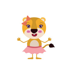 Colorful caricature of cute expression lioness in vector