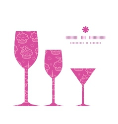 Colorful cupcake party three wine glasses vector