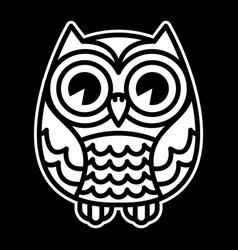 Cute cartoon owl bird with big eyes in sitting vector