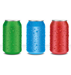 Different color aluminium cans with water drops vector
