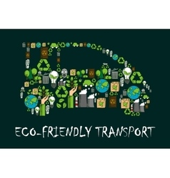 Eco car symbol made up of ecological icons vector image