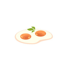 Flat fried egg with greenery icon vector