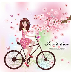 girl bike card vector image vector image