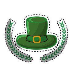 Green hat accessory st patrick with branches vector
