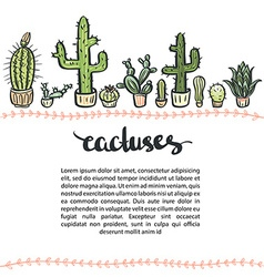 Hand drawn cactus set background cactus - vector