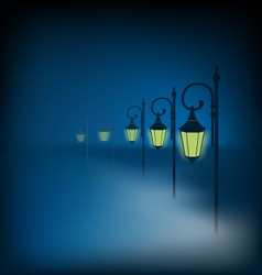 Lanterns stand in fog on dark blue vector