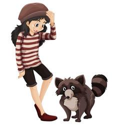 Little girl and cute racoon vector