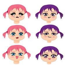 Manga faces vector