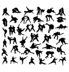 Martial Arts Competition Silhouettes vector image