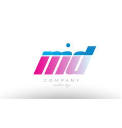Md m d alphabet letter combination pink blue bold vector