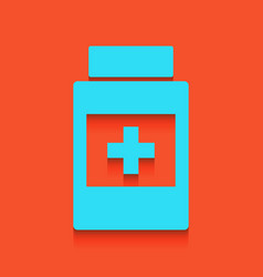 Medical container sign whitish icon on vector