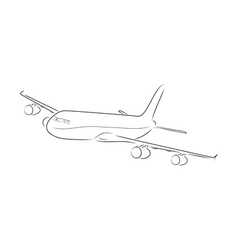 Outline of airplane vector image vector image