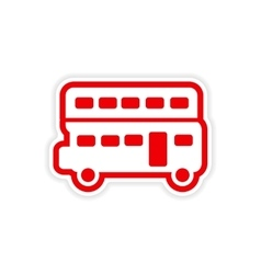 Paper sticker british double-decker bus on white vector