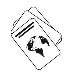 Passport document identification thin line vector
