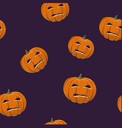 seamless pattern of evil scary halloween pumpkin vector image