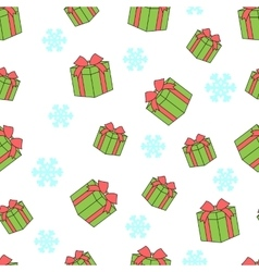 Seamless pattern of gift boxes and snowflakes vector image